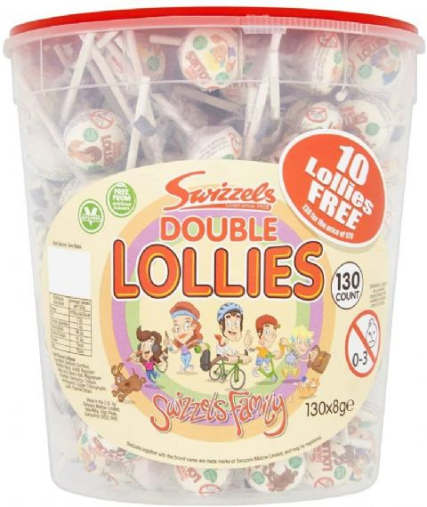 Double Lollies Fruit Fizzer Lollipop Candy Sweets Swizzels Matlow